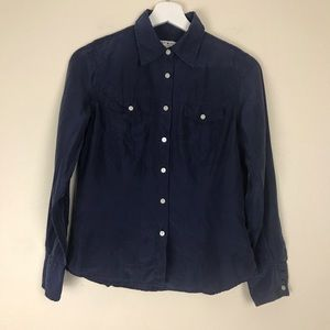 Dark Blue Tommy Hilfiger Button Down Silk Shirt